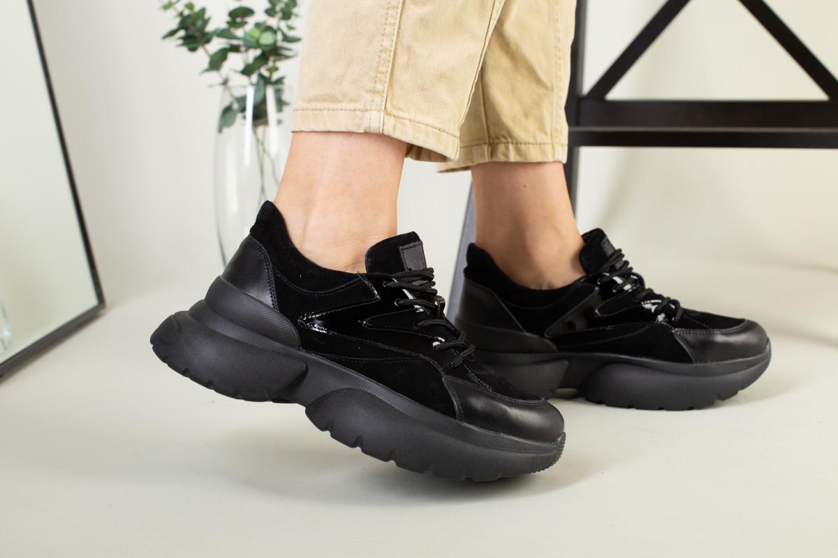 Кроссовки женские замшевые черные с вставками кожи