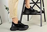 Кроссовки женские замшевые черные с вставками кожи, фото 5