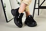Кроссовки женские замшевые черные с вставками кожи, фото 10