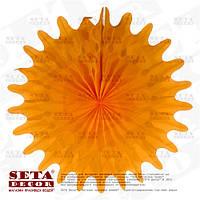 """Оранжевый декор подвесной """"Диск"""" (веер, розетка) бумажный d=50 см."""