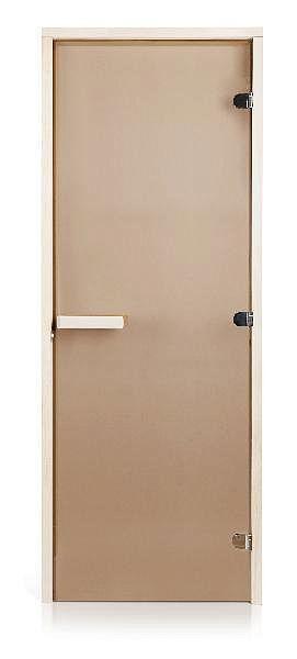 Скляні двері для лазні та сауни GREUS Classic прозора бронза 70/200 посилена (3 петлі) липа