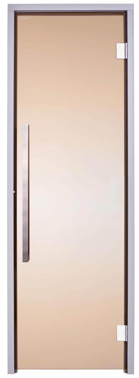 Стеклянная дверь для хамама GREUS Exclusive 70/190 бронза 2 петли