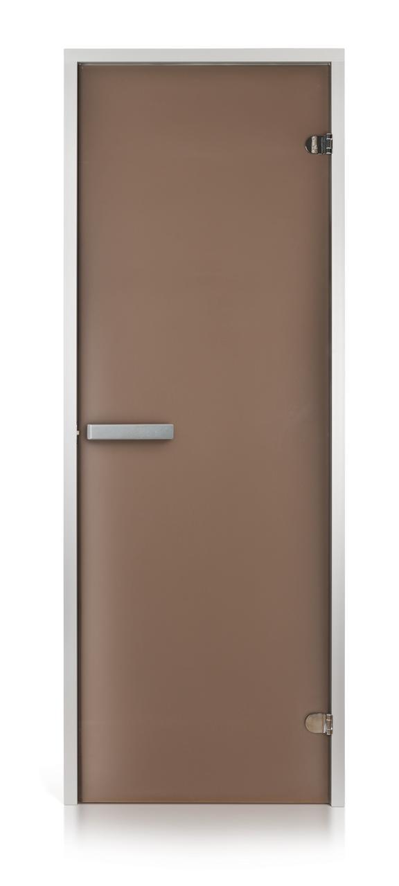 Стеклянная дверь для хамама GREUS матовая бронза 70/200 алюминий