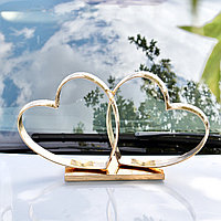 Пластик! Кольца-сердца Гальваника №6 на свадебное авто 50х28х8 см на магнитах, Золотистый