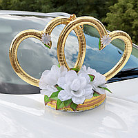 Пенопласт! Кольца-сердца на Свадебный автомобиль 43х28х17 см на магнитах, Белые цветы