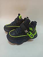 Детские кроссовки высокие Clibee  синие с салатовым, фото 1