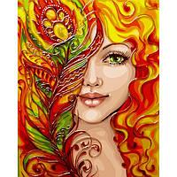 Картина за номерами 40х50 см. Дівчина-фенікс з металевими фарбами. Ідейка.