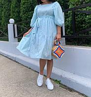 Натуральное летнее платье из прошвы для беременных и кормящих мам голубой размер С