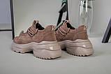 Кроссовки женские замшевые цвет латте с вставками кожи, фото 3