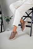 Кроссовки женские замшевые цвет латте с вставками кожи, фото 2