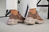 Кроссовки женские замшевые цвет латте с вставками кожи, фото 6