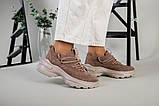 Кроссовки женские замшевые цвет латте с вставками кожи, фото 5