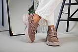 Кроссовки женские замшевые цвет латте с вставками кожи, фото 10