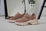 Кроссовки женские замшевые цвет латте с вставками кожи, фото 8