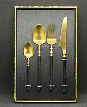 Набор приборов в коробке 4 пр., Золото / Черный (UNO PRO) Черная грация