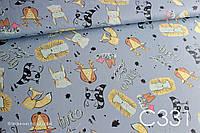 Ткань сатин Мятные ежи на серо-синем, фото 1
