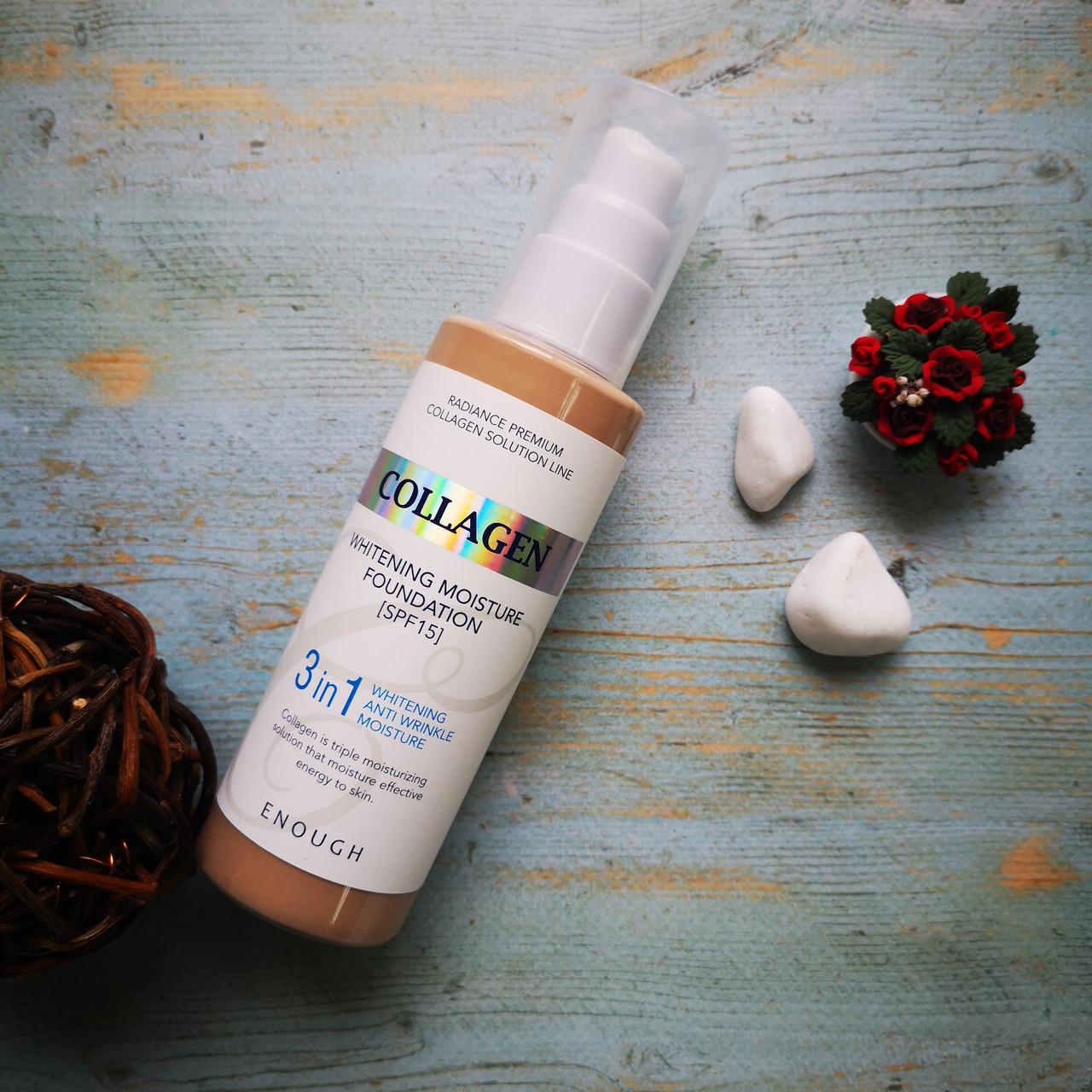 Осветляющая база под макияж Enough с колагеном Collagen Whitening Moisture Foundation 3 in 1 #21