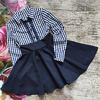 Шкільне плаття в клітку для дівчинки 140р, фото 1