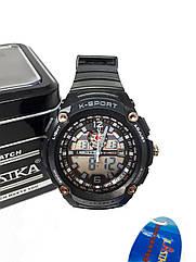 Двойные электронно-кварцевые часы K-SPORT Lines Черные KS75022GR, КОД: 1158701