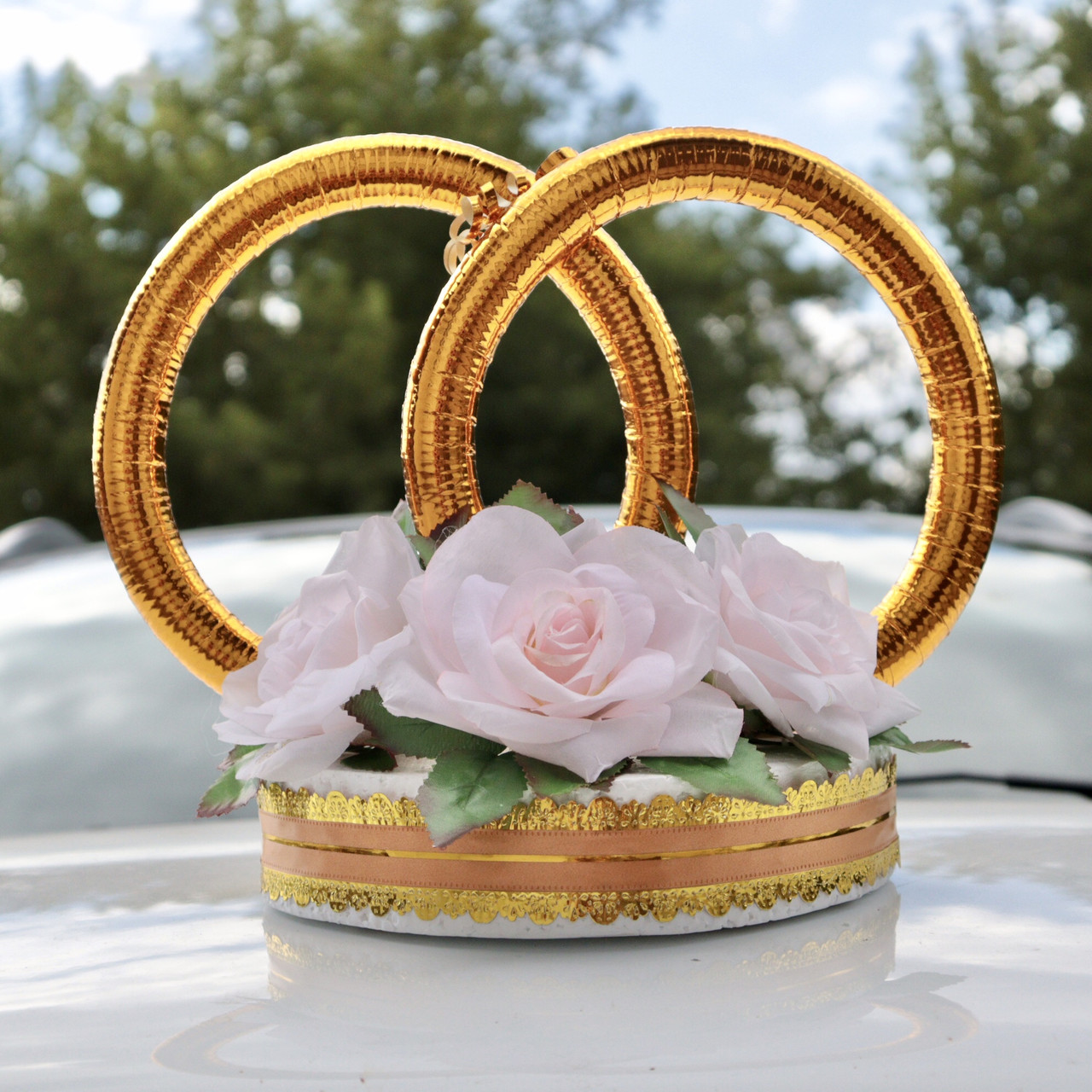 Пенопласт! Свадебные Кольца на автомобиль 34х26х16 см на магнитах, Розовые цветы