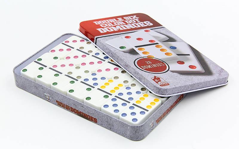 Домино настольная игра в металлической коробке IG-5010FA (кости-пластик,h-4,3см, р-р 19x11,5x3,5см)