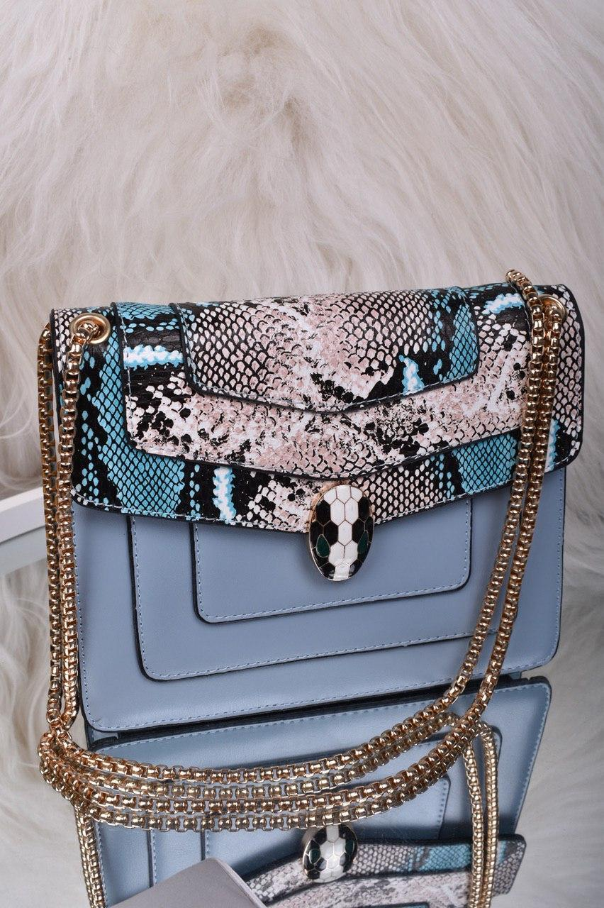 Голубая женская сумка со вставкой рептилия код 7-1156