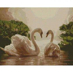 """Алмазная вышивка """"Пара лебедей"""" (лебеди, птицы, пара)"""