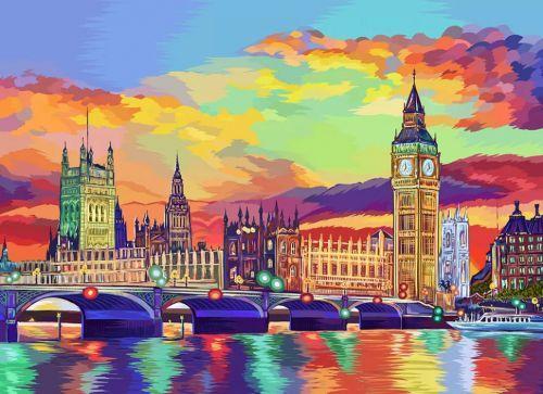 """Картина по номерам """"Красочный Лондон"""" рус (Лондон, Биг бен, Бигбен, тауэрский мост)"""