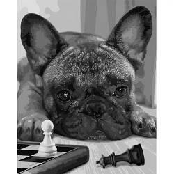 """Картина по номерам """"Лучший игрок"""" ★★★★ (собака, бульдог, щенок)"""
