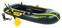 ✅ Intex 68347 (236-114-41 см.) Надувная лодка SeaHawk 2 + Весла и насос | Надувний човен для рибалки