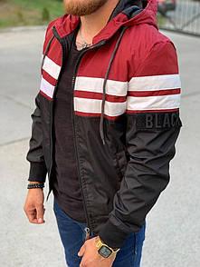 Чоловіча куртка з капюшоном чорно-білий-червоний