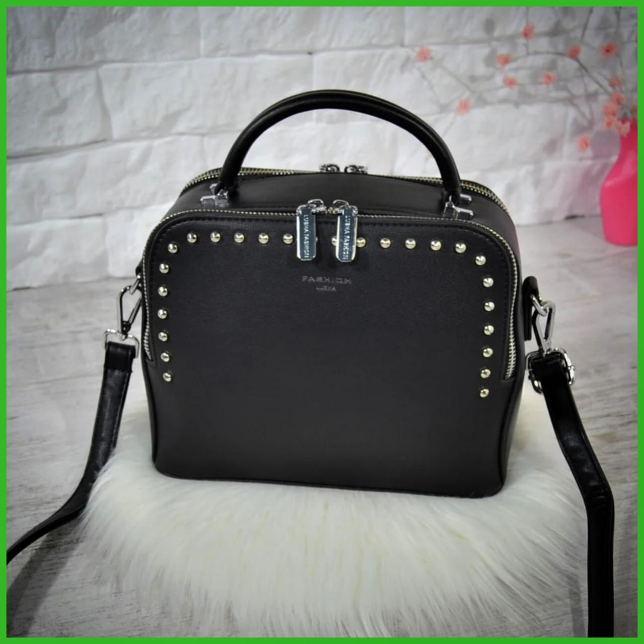 Компактная женская сумка Fashion Lusha на две молнии с заклепками .Черная