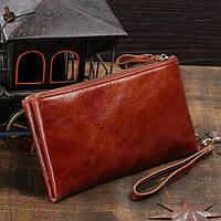 Кожаный кошелек, мужской клатч, светло коричневый