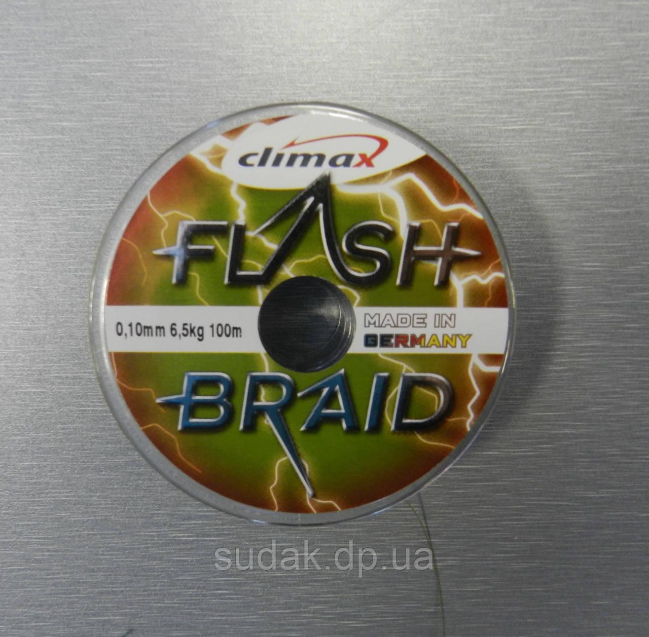Шнур CLIMAX FLASH BRAID Yellow 100 m 0.10 6.50kg, желтый