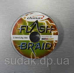 Шнур CLIMAX FLASH BRAID Yellow 100 m 0.10 6.50 kg, жовтий