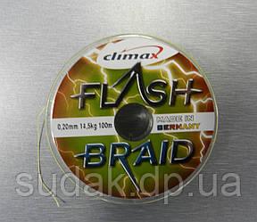 Шнур CLIMAX FLASH BRAID yellow 100 m 0.20 14.50 kg, жовтий