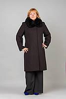 Женское пальто больших размеров с натуральным мехом