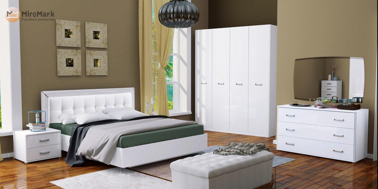 Спальня Белла 4дв Белый глянец ТМ Миро-марк