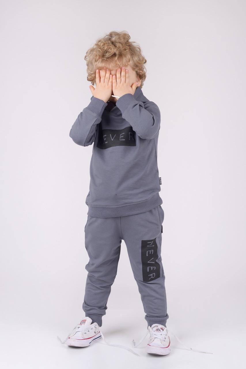 Спортивный костюм  для мальчика 2ка NEVER Hart  (рост 92)серый