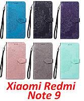 Книжка с красивой гравировкой для Xiaomi Redmi Note 9 /кожаный чехол-книжка/ для ксиоми редми нот 9 /сяоми/