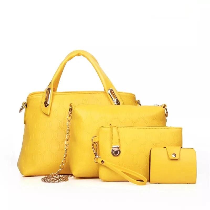 Набор женских сумок  4 в 1  из экокожи желтый