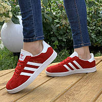 Женские кроссовки, красные Adidas Gazelle Red, кросівки жіночі червоні