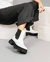 Белые женские ботинки Челси на платформе женские