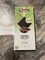 Черный шоколад Torras Stevia Negro без сахара 100 грм