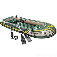 ✅ Intex 68351 (351х145х48 см) Надувная лодка Seahawk 4 | Надувний човен для рибалки Інтекс