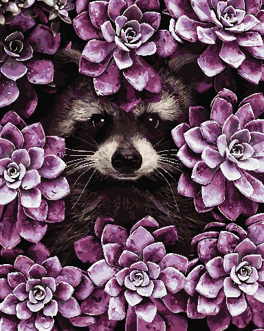 Картина за номерами Єнот в квітах 40х50 см Art Story (AS0721)