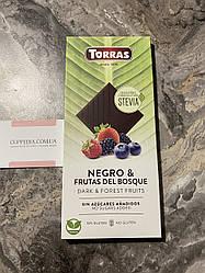 Черный шоколад Torras Stevia без сахара с ягодами 125 грм