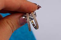 Серьги кольца с камнями 2 см