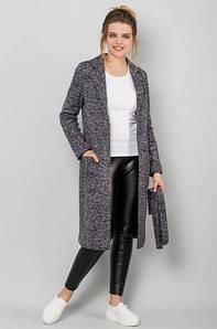 Женское пальто-кардиган без пуговиц демисезон серое