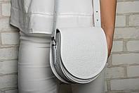 """Кожаная женская сумка, белая сумка ручной работы """"Аркан"""", сумка через плечо"""